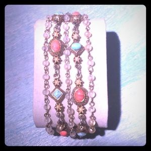 Goldtone bracelet w/turquoise pearl & coral stones